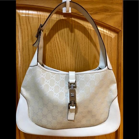 76060462285 Gucci Bags   Cream Jackie O Canvas Hobo Leather Trim Euc   Poshmark
